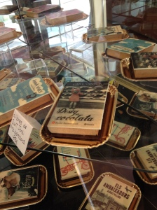 Chocolate books in a bakery for St George (St. Jordi) in Barcelona