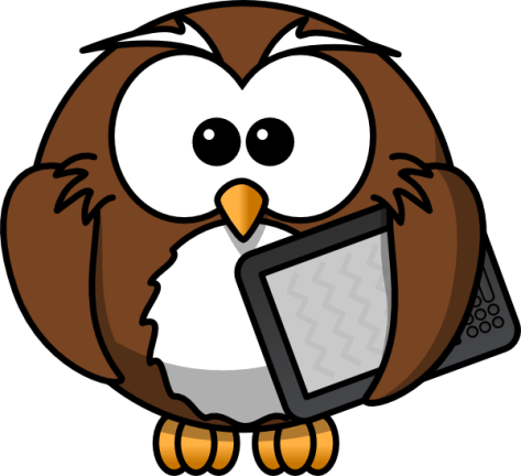 Owl Holding Kindle