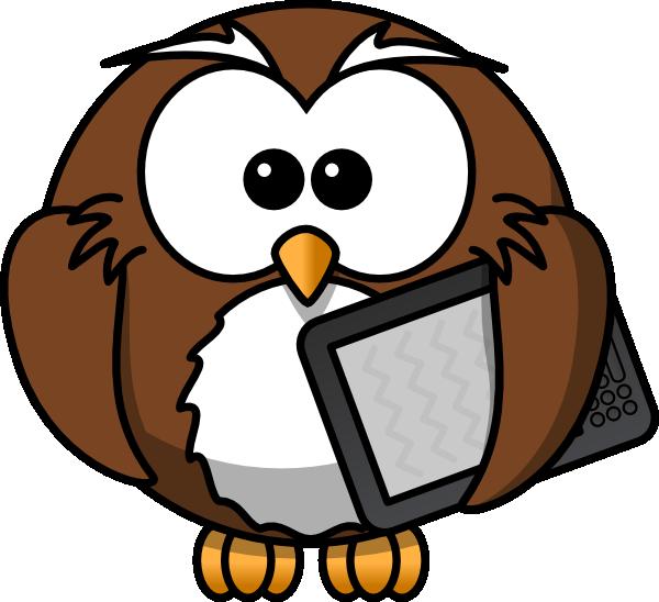 Owl Holding Kindle