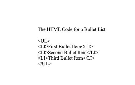 Bullet List HTML Coding